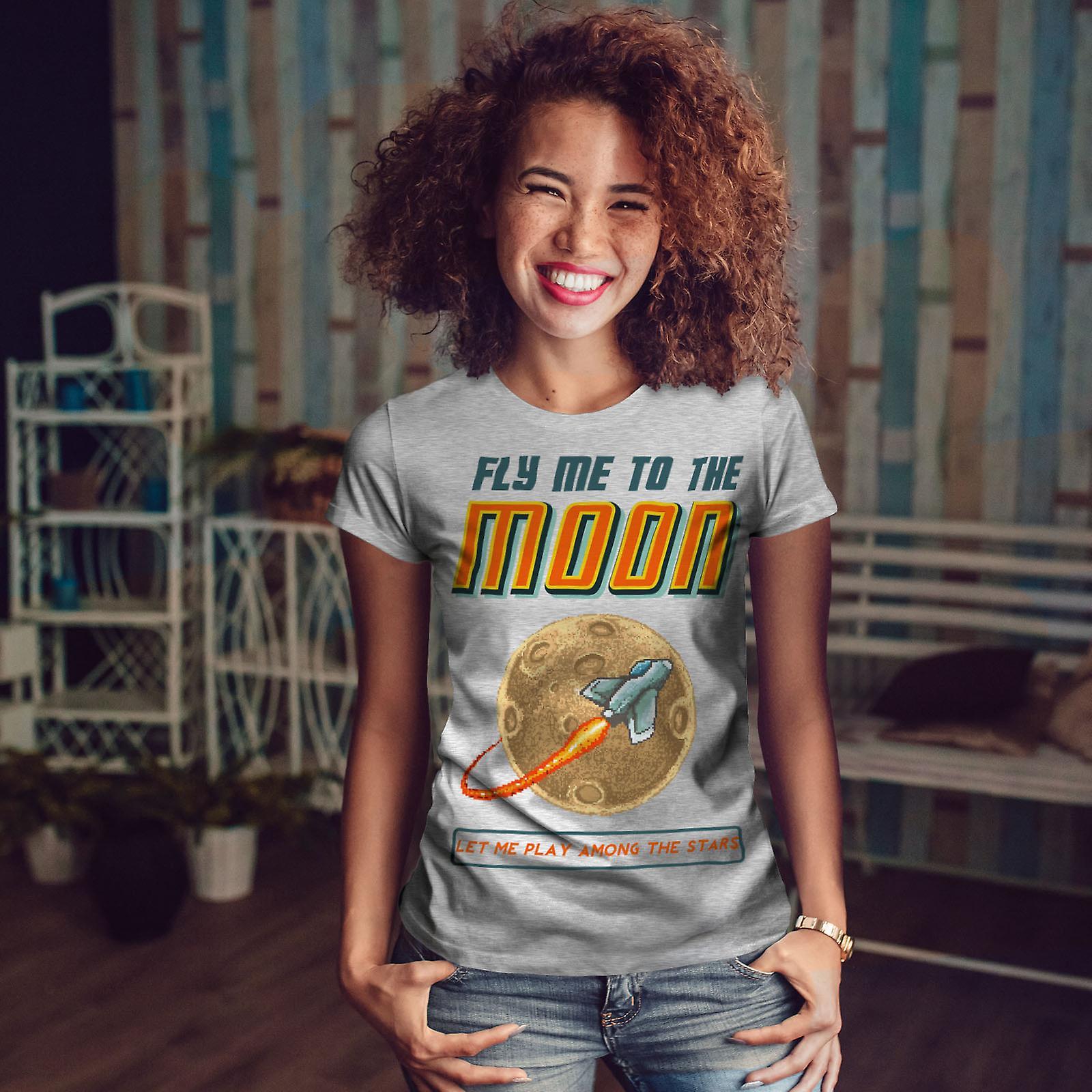 Voler la lune étoiles GreyT-chemise femme | Wellcoda