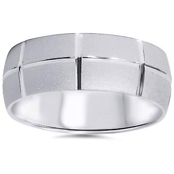 14k White Gold Wedding Band Mens Brushed 8mm Wide Ring