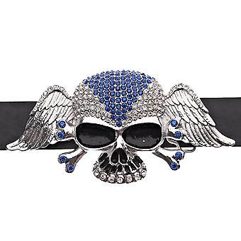 Iced Out Bling Hip Hop Skull Wings XXL Gürtel - silber blau