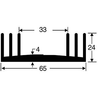 """פישר אלקטרונית SK 18 100 SA כיור חום 2.5 K/W (L x W x) 100 x 65 x 24 מ""""מ"""