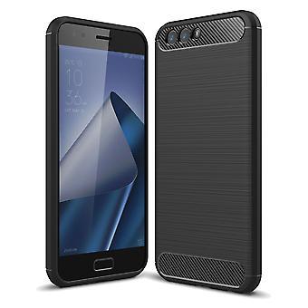 Asus Zenfone 4 ZE554KL TPU Case Carbon Fiber Optik Brushed Schutz Hülle Schwarz