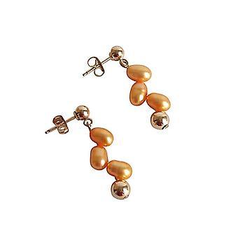 Perle øreringe champagne karamel forgyldt perle perler øreringe