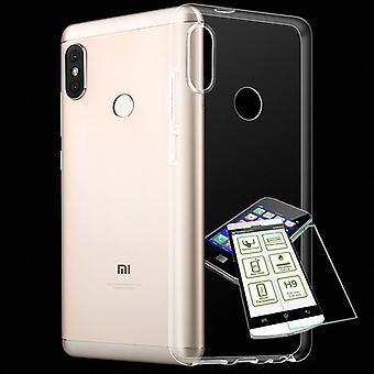 For Xiaomi MI A2 / MI 6 X Silikoncase TPU transparent + 0.3 H9 glass bag case protective cover