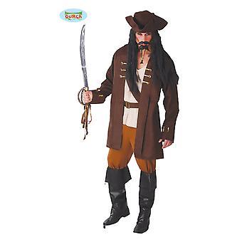Costume de partie thème pirates capitaine carnaval pour hommes pirate marron