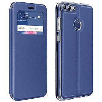 Finestra flip, flip portafoglio caso con supporto per Huawei P Smart - blu scuro