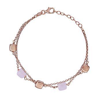 Orphelia 925 zilveren dubbele Rose armband met roze stenen 19 CM ZA-7432