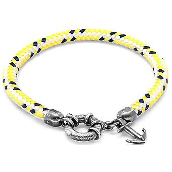 Anchor and Crew Salcombe Silver and Rope Bracelet - Yellow Dash