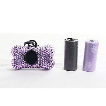 Light Purple Crystal Rhinestone Bone shaped Waste Bag Dispenser
