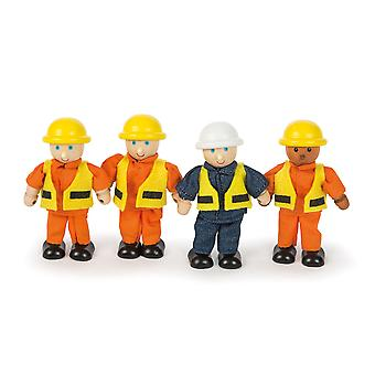 Tidlo Wooden Builders Figures Play Set Pretend Role Play