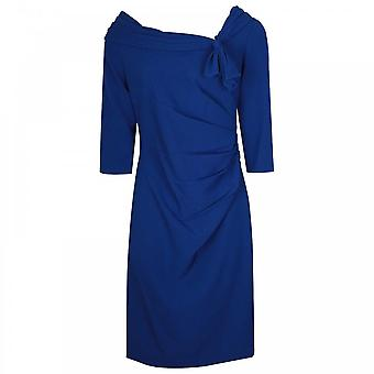 Veromia Occasions Sweeping Cowl Neck 3/4 Sleeve Blue Dress