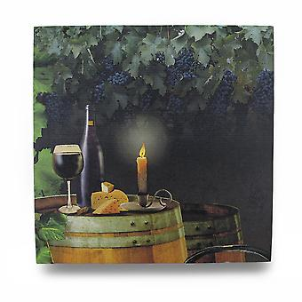 Wine By Candle Light Lighted LED Canvas Wall Hanging