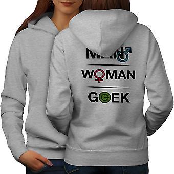 Funy Geek Power Naiset GreyHoodie takaisin | Wellcoda, mitä sinä olet?