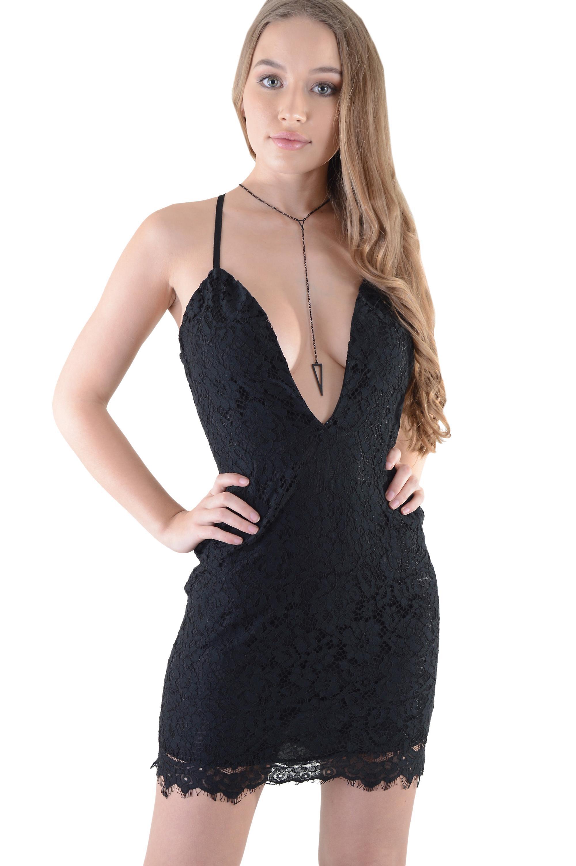 Lovemystyle Short Lace Slip Dress With Plunge Neck