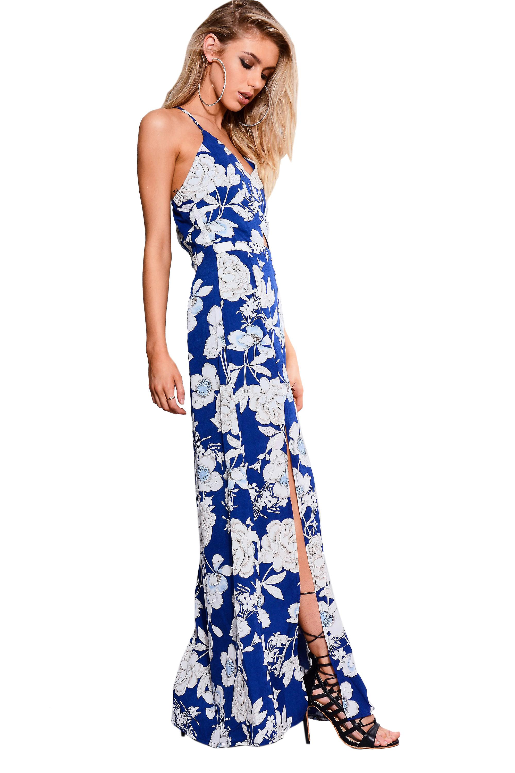 Parisian Blue Floral Maxi Summer Dress With Cut Out Detail