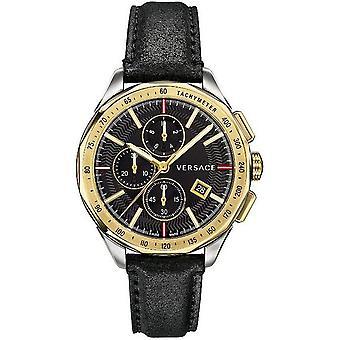 Uomo Versace orologio orologio da polso Cronografo glassa in pelle VEBJ00218
