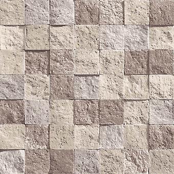 Slate Stone Brick Effect Wallpaper Vinyl Weathered Beige Direct Wallpapers