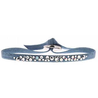 Armband verwisselbaar A36959 - stof staal blauw vrouw armband