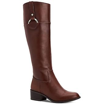 Alfani Womens Briaah Leather Round Toe Knee High Riding Boots