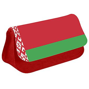 Belarus Flag Printed Design Pencil Case for Stationary/Cosmetic - 0016 (Red) by i-Tronixs