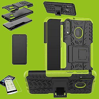 Huawei P30 Lite Hybrid Case 2-osainen vihreä + kova lasi laukku kotelo suoja kotelo