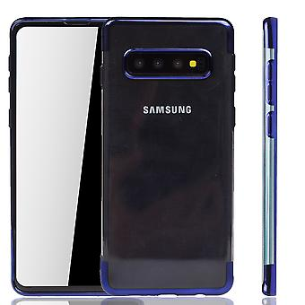 Phone case for Samsung Galaxy S10 Plus Blue-Clear-TPU Silicone Case Backcover protective case in Transparent/Shining Edge Blue