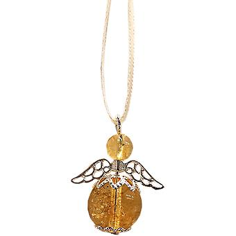 Handmade Hanging Semi-precious Citrine Gemstone Guardian Angel in Silver Plated by Nyleve Designs