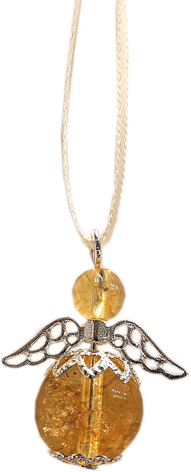 Nyleve Designs handmade Hanging Semi-precious Citrine Gemstone Guardian Angel in Silver Plated