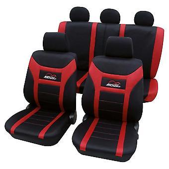 Cubiertas de asiento de coche rojo y negro para Skoda Yeti
