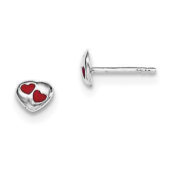 925 Sterling Silver Rh Plaquéd pour les garçons ou les filles Red Enameled Love Heart Post Boucles d'oreilles - .9 Grammes
