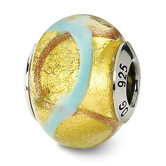 925 Sterling Silver finish Italian Murano Glass Reflections Yellow Gold Blue Italian Murano Bead Charm Pendant Necklace
