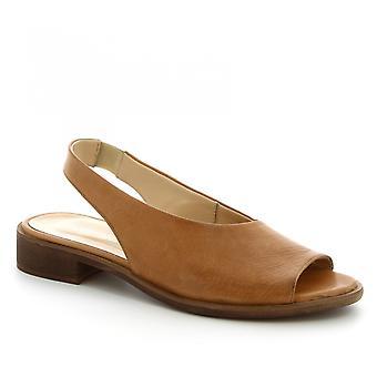 Leonardo sko kvinner ' s håndlaget slingback flate sandaler i brunt kalv skinn