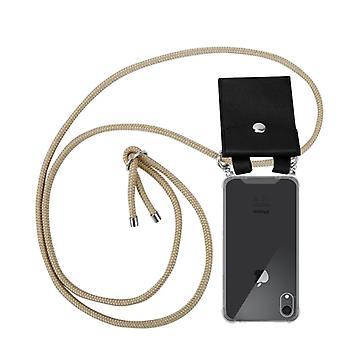 Caja de la cadena del teléfono Cadorabo para la cubierta de la caja del iPhone XR de Apple - funda de la capa del collar de silicona con anillos de plata - cable de la banda y funda protectora de la caja extraíble