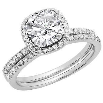 Dazzlingrock Collection 10K 7 MM Cushion Lab Created White Sapphire & Round Diamond Wedding Ring Set, White Gold