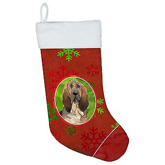 Carolines Treasures  CK4033CS Christmas Snowflakes Bloodhound Christmas Stocking