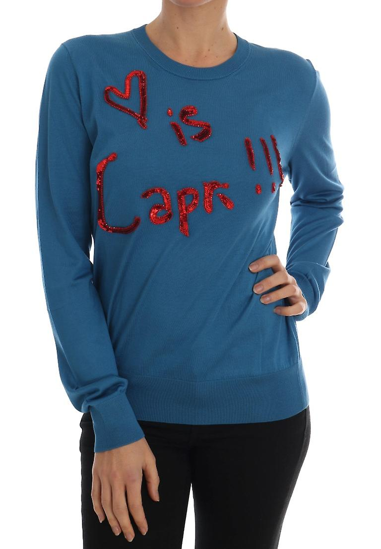 Blue Silk Love Is Pullover Sweater