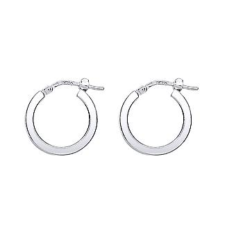 Jewelco London Ladies Rhodium Plated Sterling Silver # Square Tube Polished Hoop Earrings 17mm 2mm
