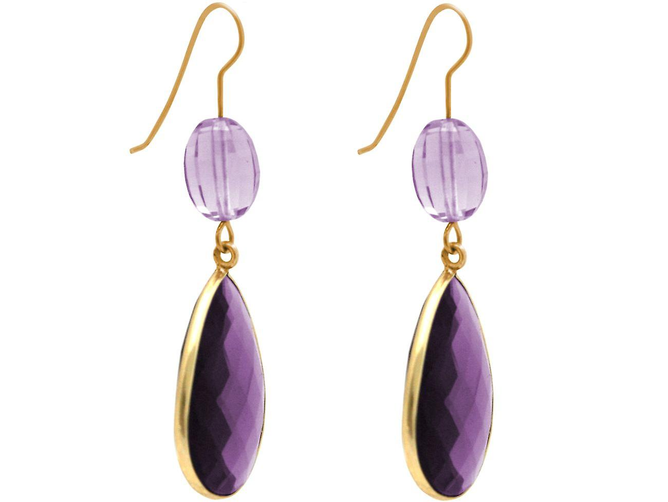 Gemshine Ohrringe lila und Lavendel Amethyst Tropfen in 925 Silber vergoldet