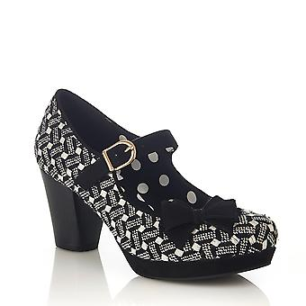 Ruby Shoo Women's Black & White Crystal Mid Heel Mary Jane Shoes