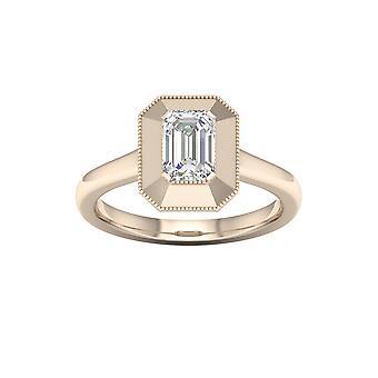De couer 3/4ct tdw baguette diamante 14k oro giallo solitario anello di fidanzamento (i-j, i2)
