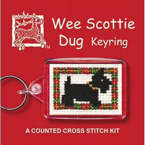 Textile Heritage Counted Cross Stitch Keyring - Wee Scottie Dug