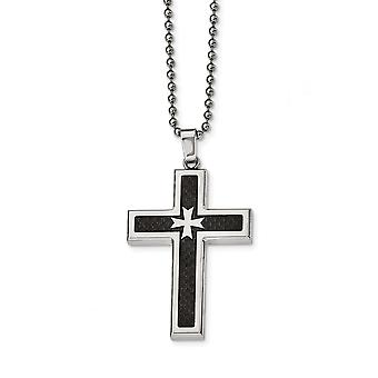 Stainless Steel Engravable Polished With Black Carbon Fiber Inlay Religious Faith Cross Necklace 22 Inch Jewelry Gifts f