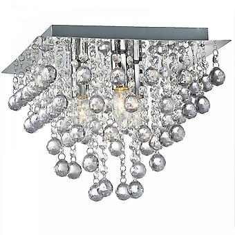 THLC Palazzo Elegant Crystal 3 Light Square Flush Light In Polished Chrome Finish Pal3sq