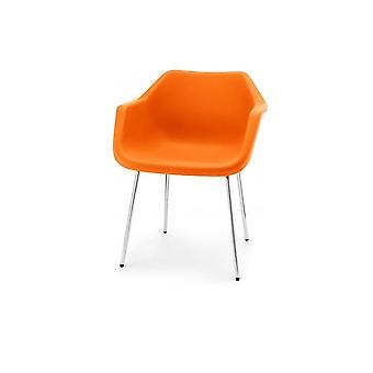 Fauteuil en plastique Hille Bright Orange Robin Day