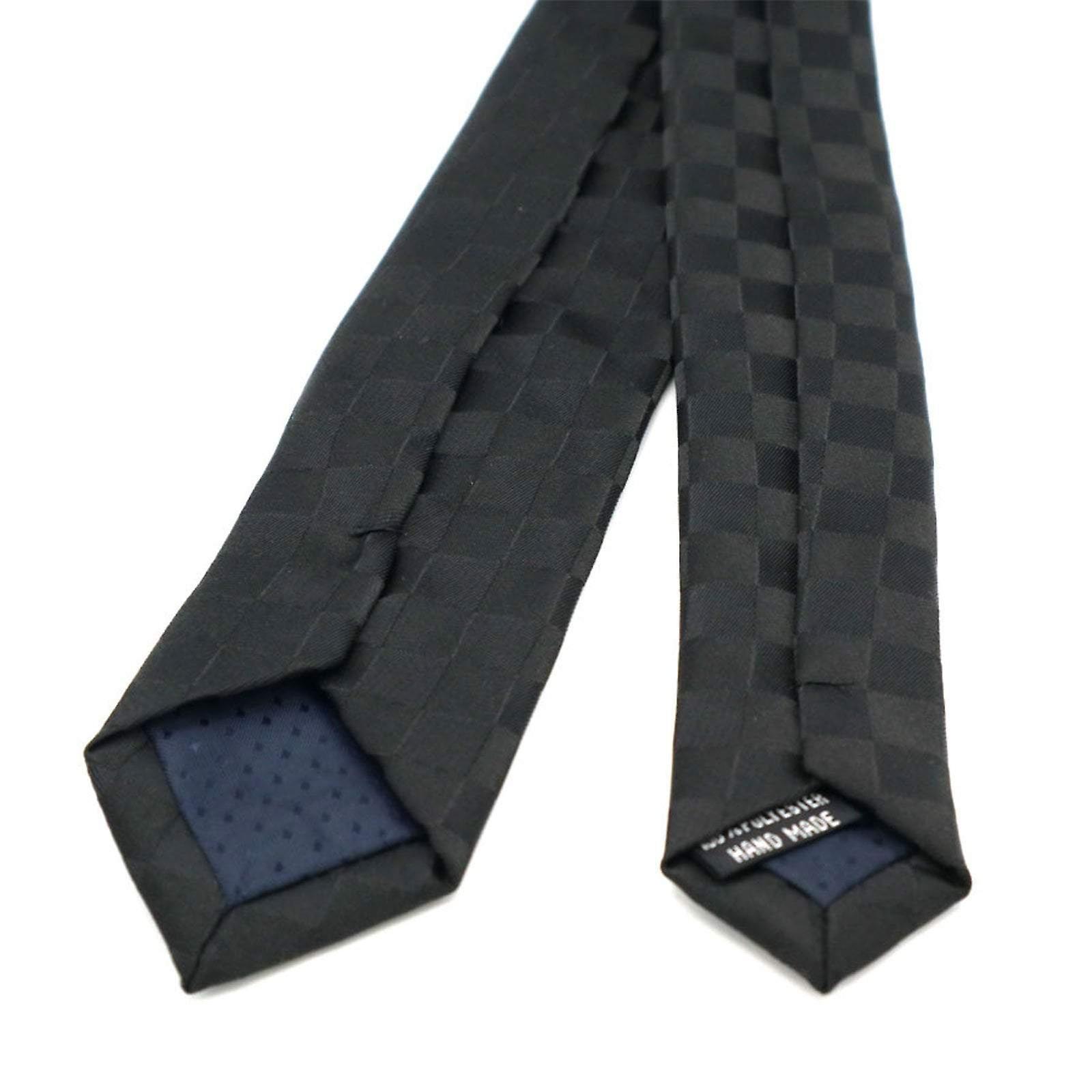 Black contrast square pattern skinny tie & pocket square