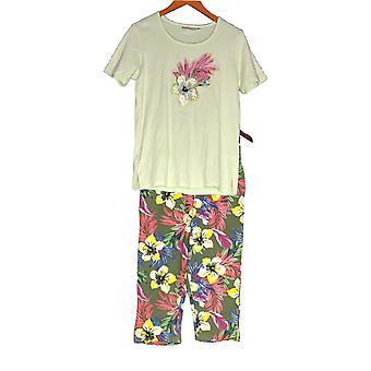 Quacker Factory Set Tropic Fun Camiseta & Impreso Capri Pantalones Verde A304109