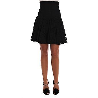 Dolce & Gabbana Black Floral Cutout Lace A-Line Skirt