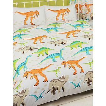 Dinosaur World Duvet Cover and Pillowcase Set