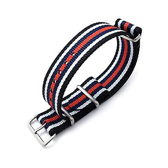 Strapcode n.a.t.o watch strap miltat 21mm or 22mm g10 nato bullet tail watch strap, ballistic nylon, brushed - black, white, blue & red stripes