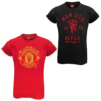 Manchester United FC Official Football Gift Dames Glitter Print T-shirt