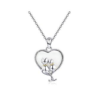 Cat Pairs pendant adorned with white, mother-of-pearl and silver Swarovski Crystal 925 8164